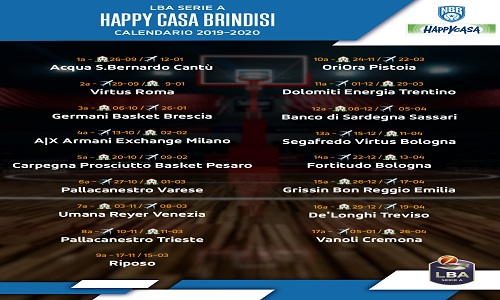 Vanoli Basket Calendario.Happy Casa Il Calendario Del Campionato 2019 20